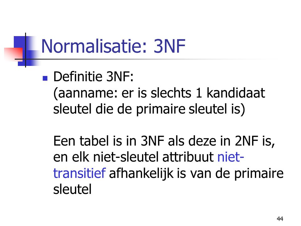 Normalisatie: 3NF