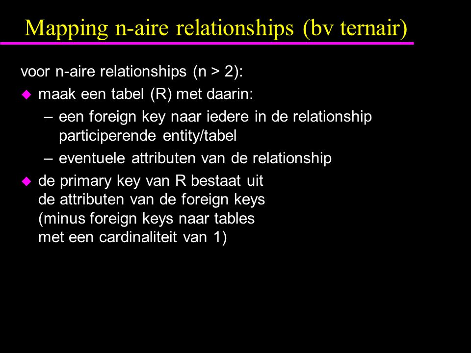Mapping n-aire relationships (bv ternair)