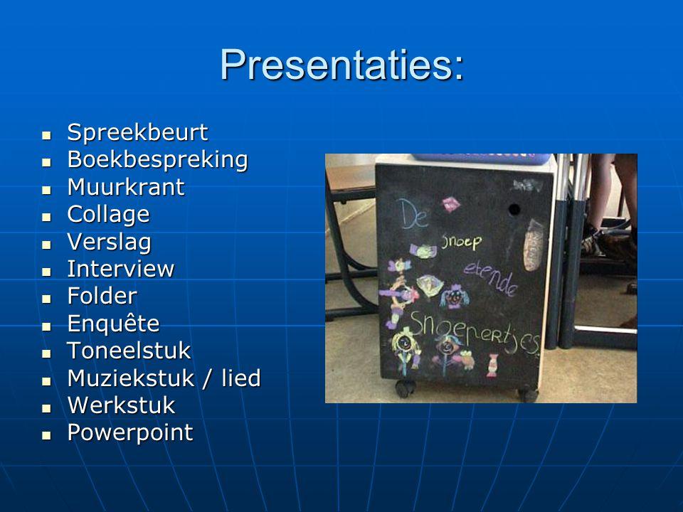 Presentaties: Spreekbeurt Boekbespreking Muurkrant Collage Verslag