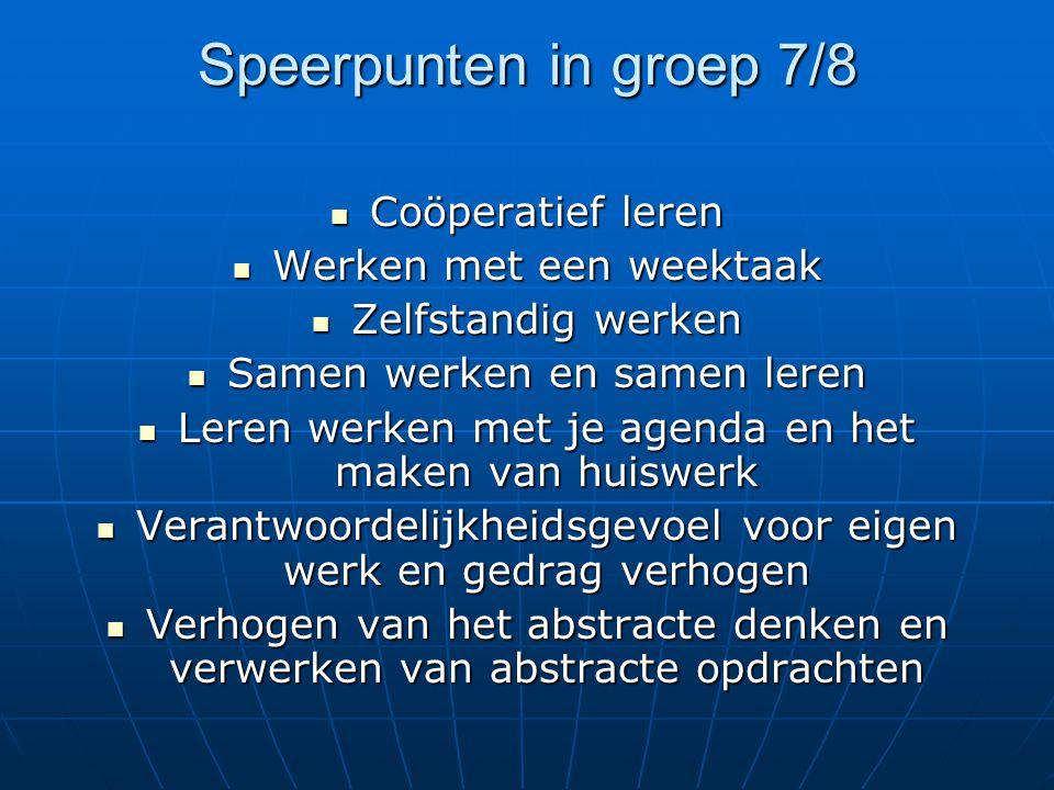 Speerpunten in groep 7/8 Coöperatief leren Werken met een weektaak