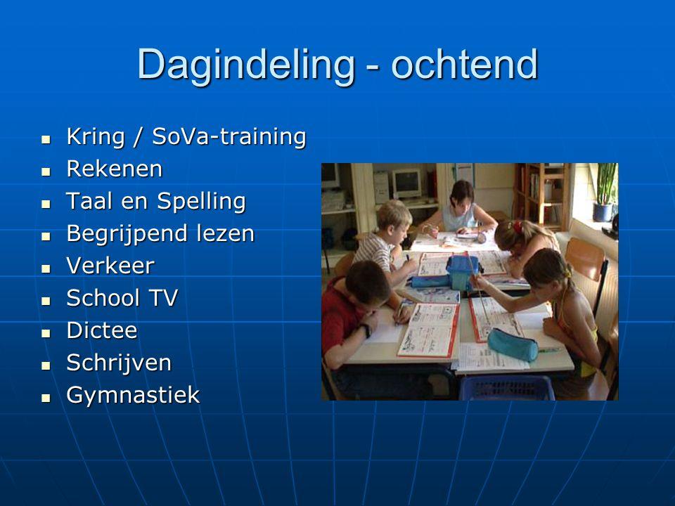 Dagindeling - ochtend Kring / SoVa-training Rekenen Taal en Spelling