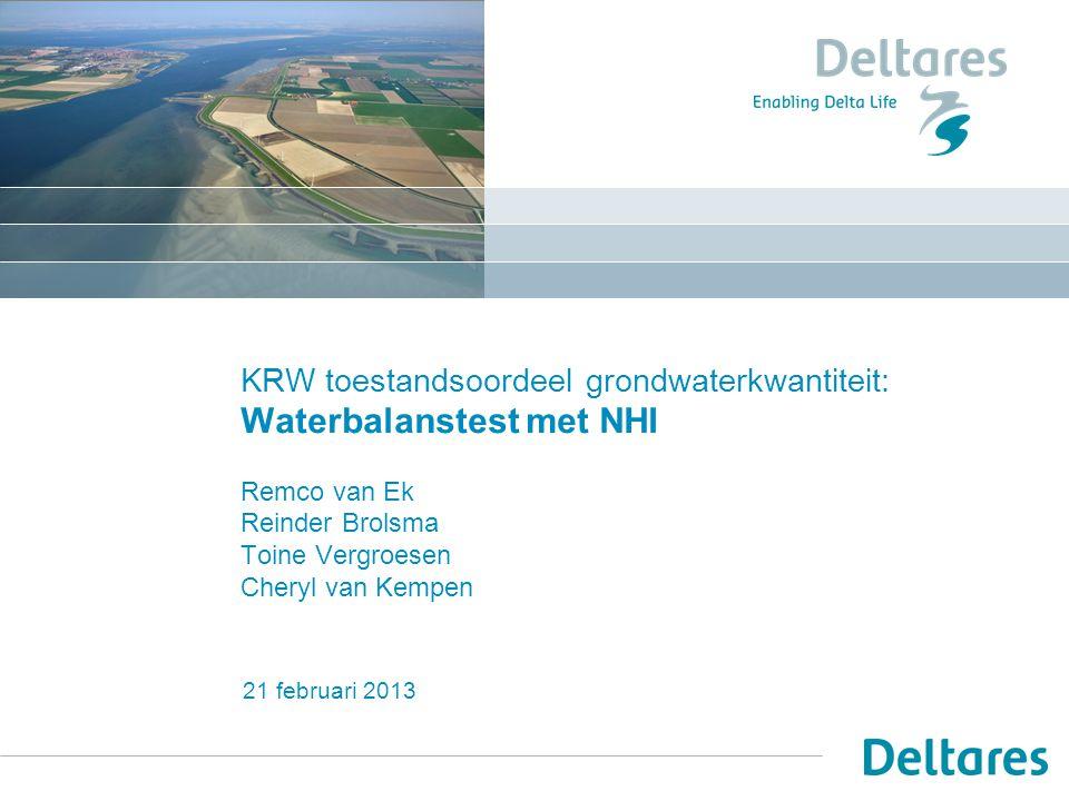 KRW toestandsoordeel grondwaterkwantiteit: Waterbalanstest met NHI