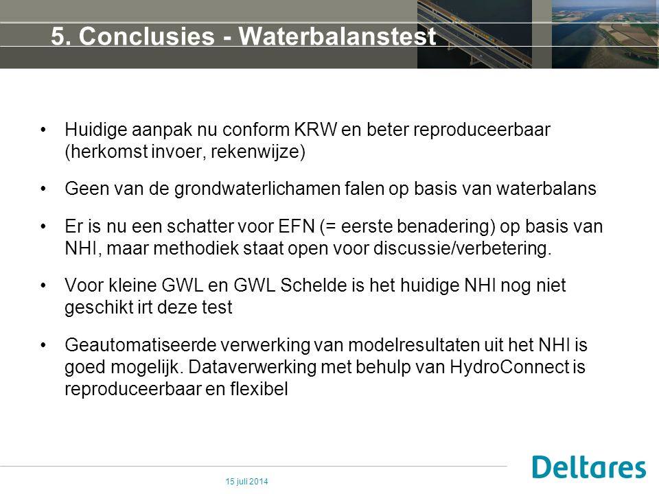 5. Conclusies - Waterbalanstest
