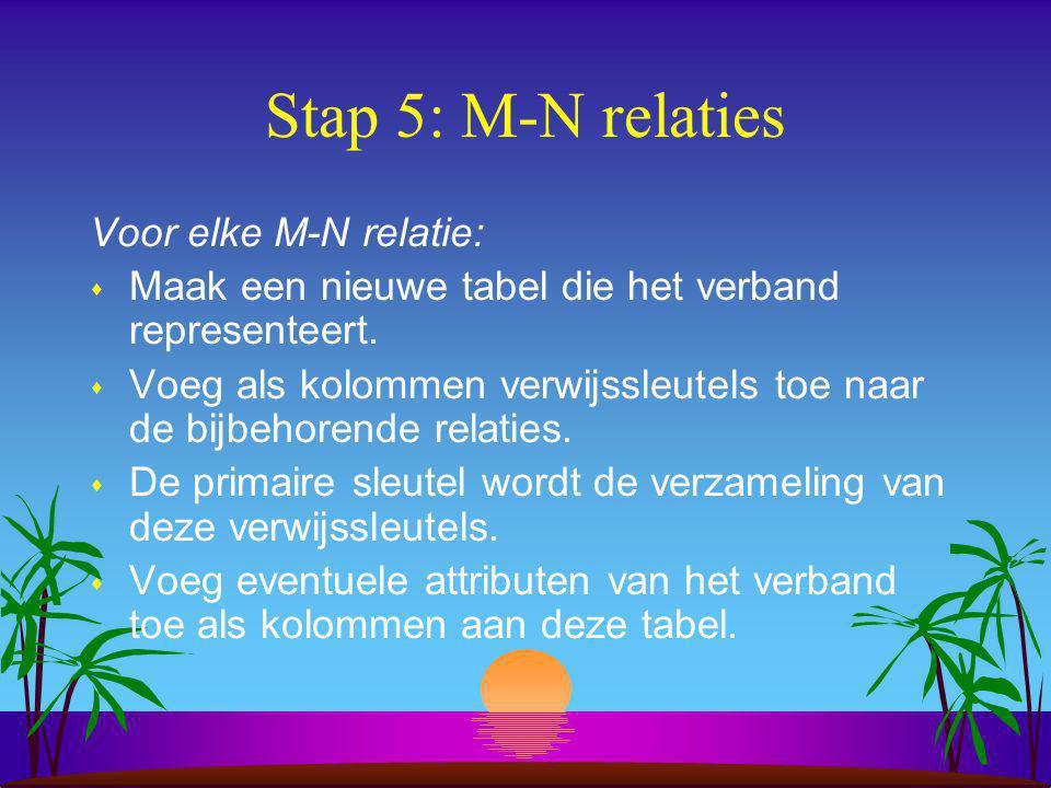 Stap 5: M-N relaties Voor elke M-N relatie:
