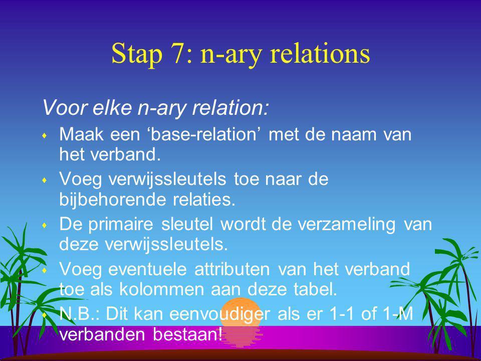 Stap 7: n-ary relations Voor elke n-ary relation: