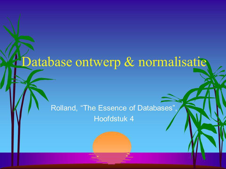 Database ontwerp & normalisatie