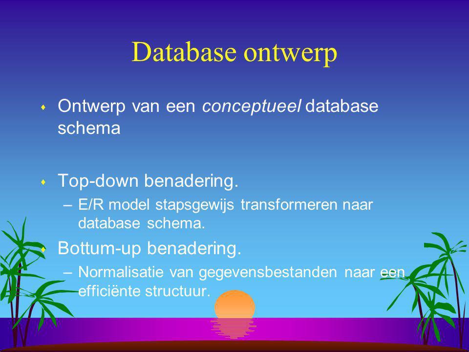 Database ontwerp Ontwerp van een conceptueel database schema