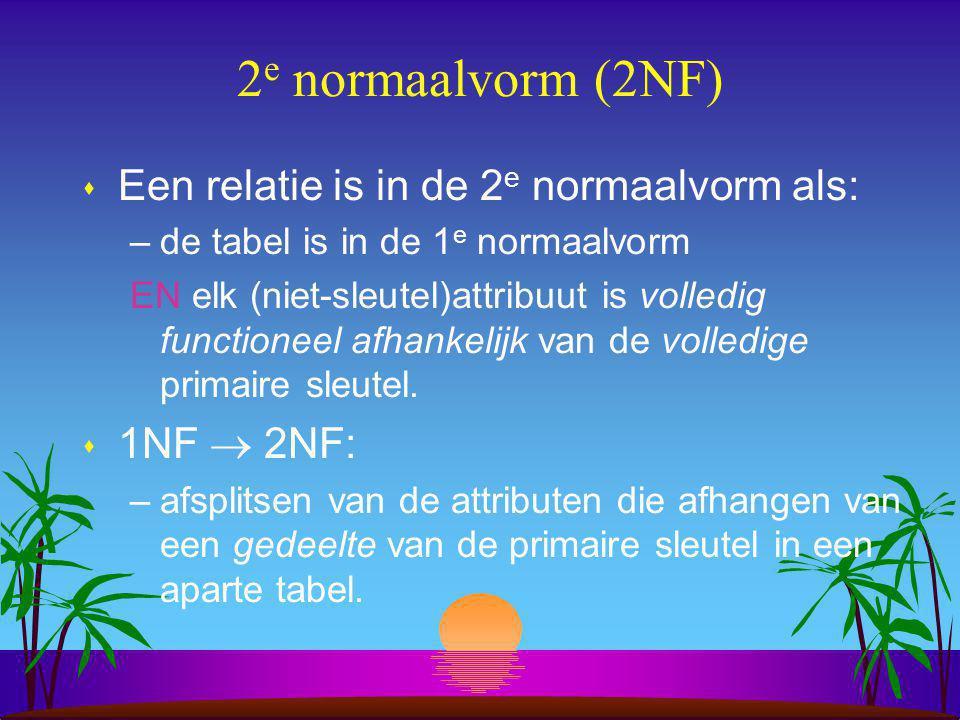 2e normaalvorm (2NF) Een relatie is in de 2e normaalvorm als: