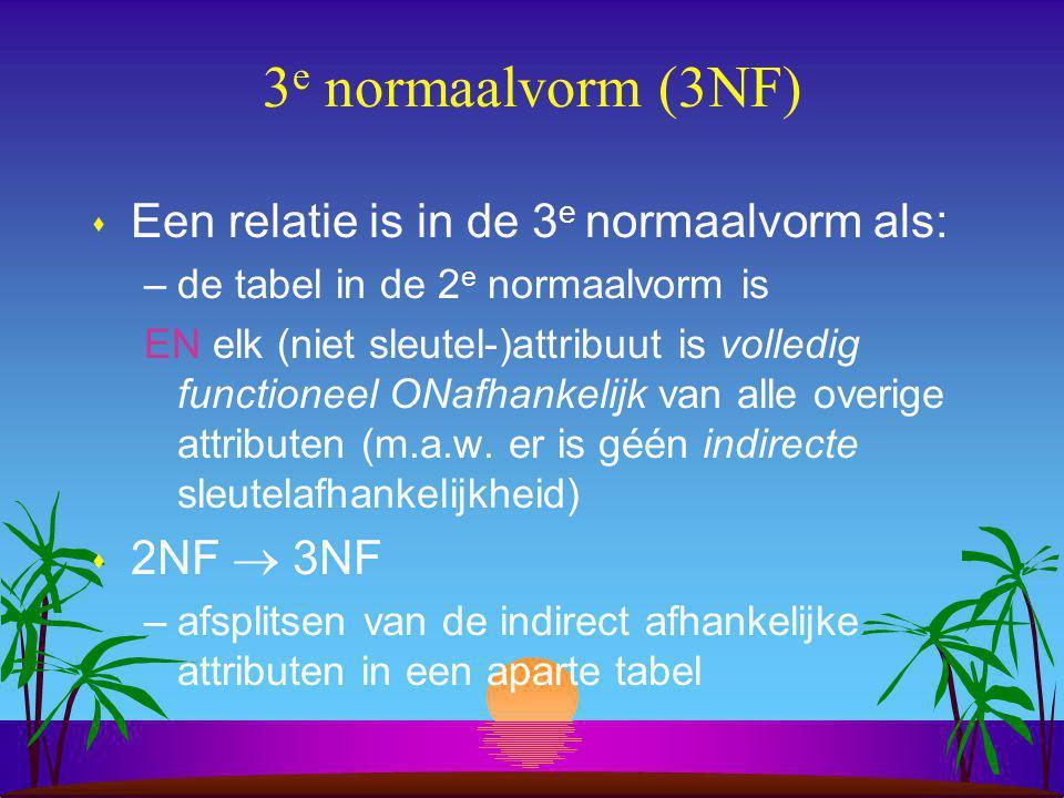 3e normaalvorm (3NF) Een relatie is in de 3e normaalvorm als:
