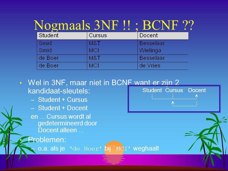 Nogmaals 3NF !! ; BCNF Wel in 3NF, maar niet in BCNF want er zijn 2 kandidaat-sleutels: Student + Cursus.