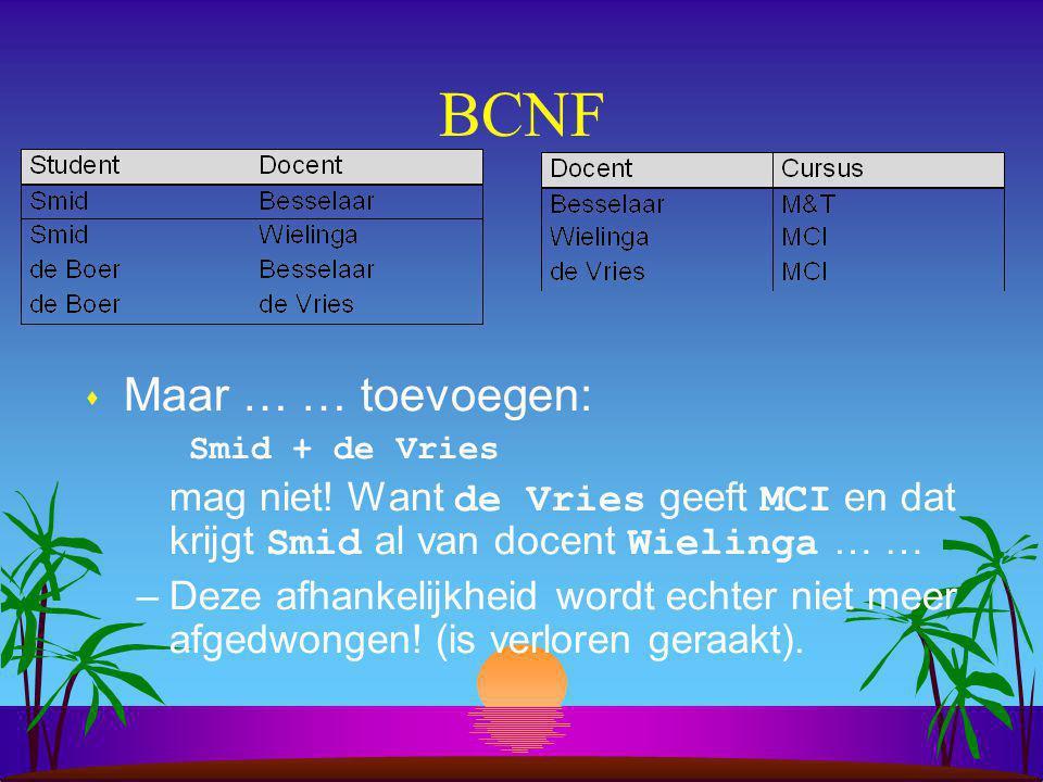 BCNF Maar … … toevoegen: