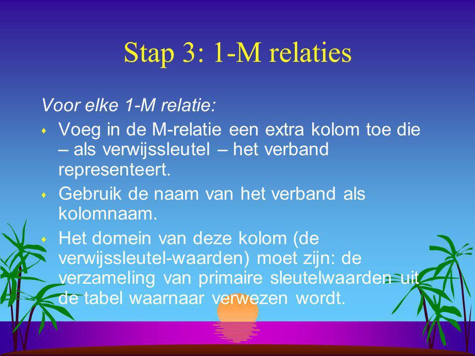 Stap 3: 1-M relaties Voor elke 1-M relatie: