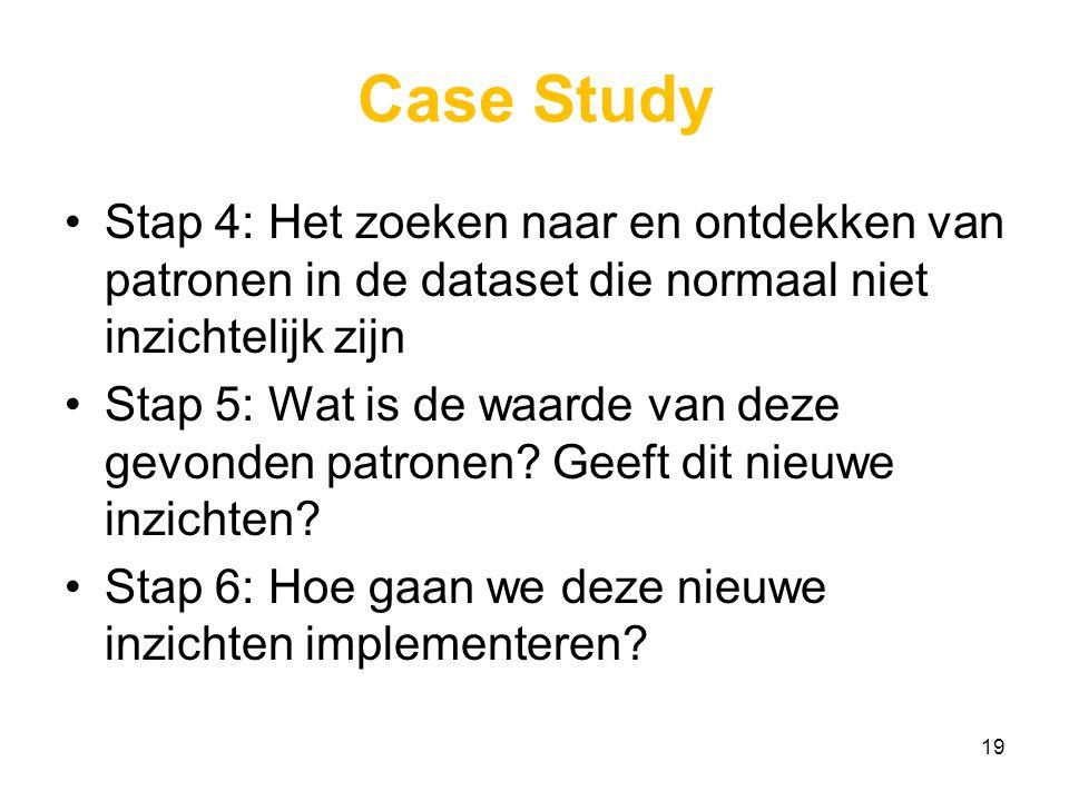 Case Study Stap 4: Het zoeken naar en ontdekken van patronen in de dataset die normaal niet inzichtelijk zijn.