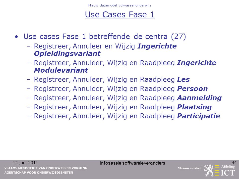 Nieuw datamodel volwassenonderwijs Use Cases Fase 1
