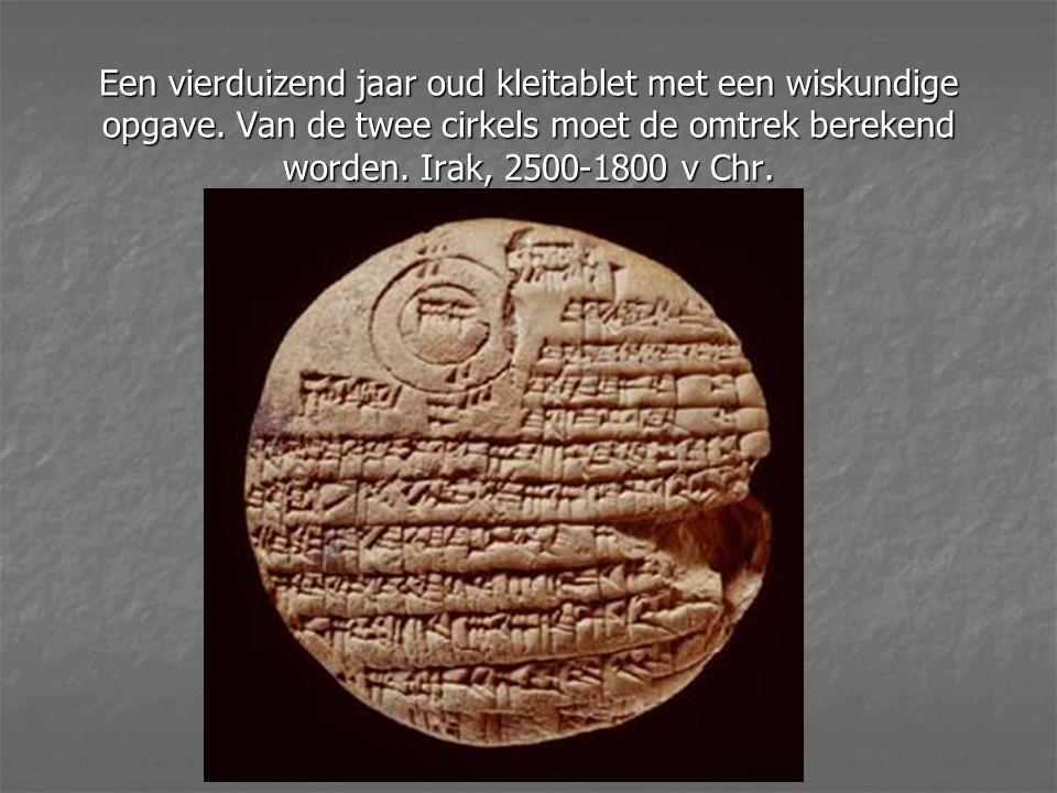 Een vierduizend jaar oud kleitablet met een wiskundige opgave
