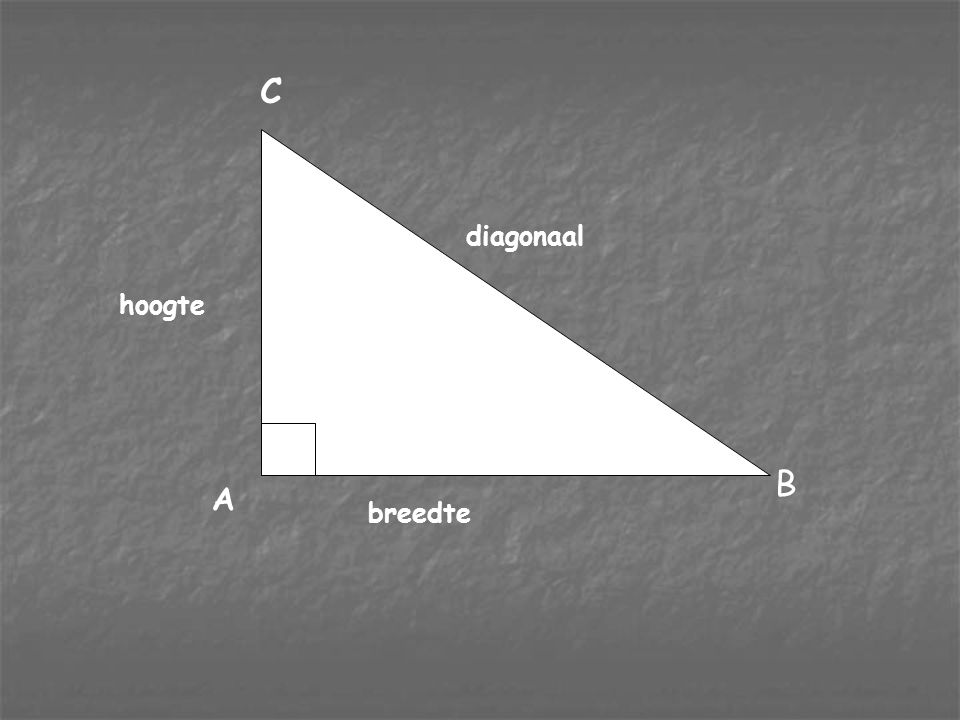 breedte diagonaal hoogte A B C