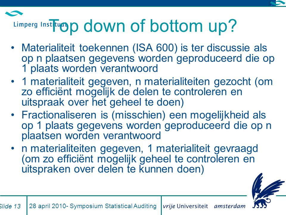 28 april 2010- Symposium Statistical Auditing