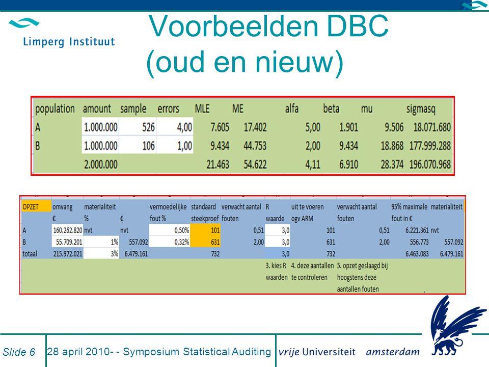 Voorbeelden DBC (oud en nieuw)