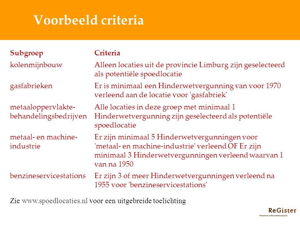 Voorbeeld criteria Subgroep Criteria kolenmijnbouw