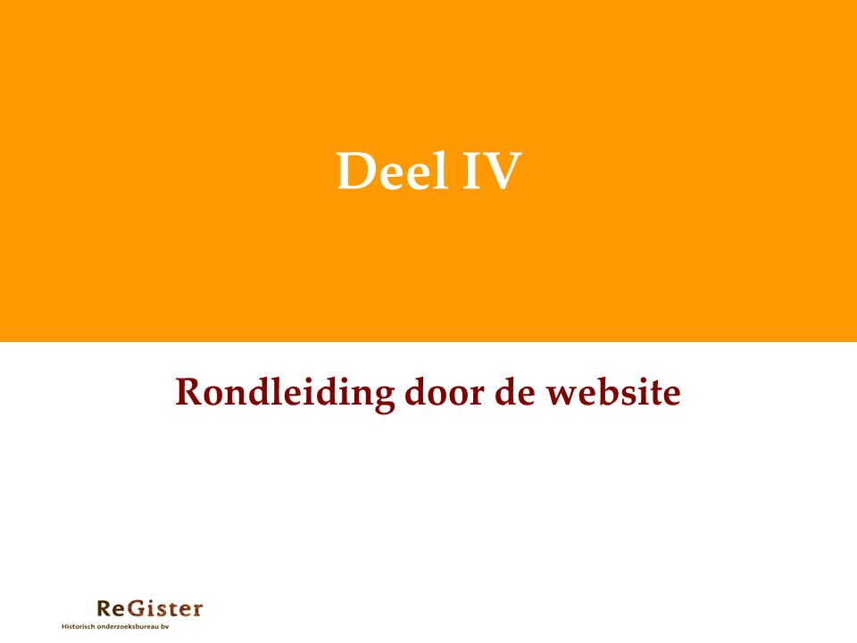 Rondleiding door de website
