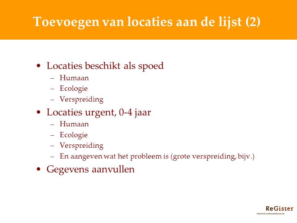 Toevoegen van locaties aan de lijst (2)
