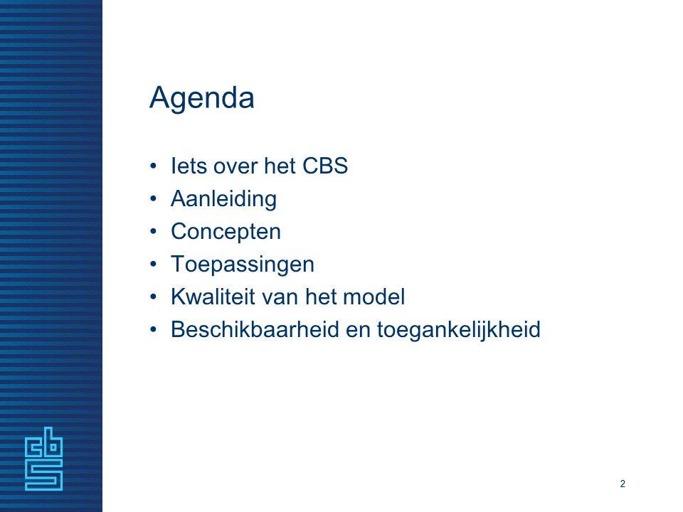 Agenda Iets over het CBS Aanleiding Concepten Toepassingen