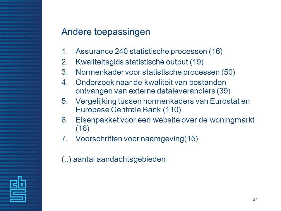 Andere toepassingen Assurance 240 statistische processen (16)