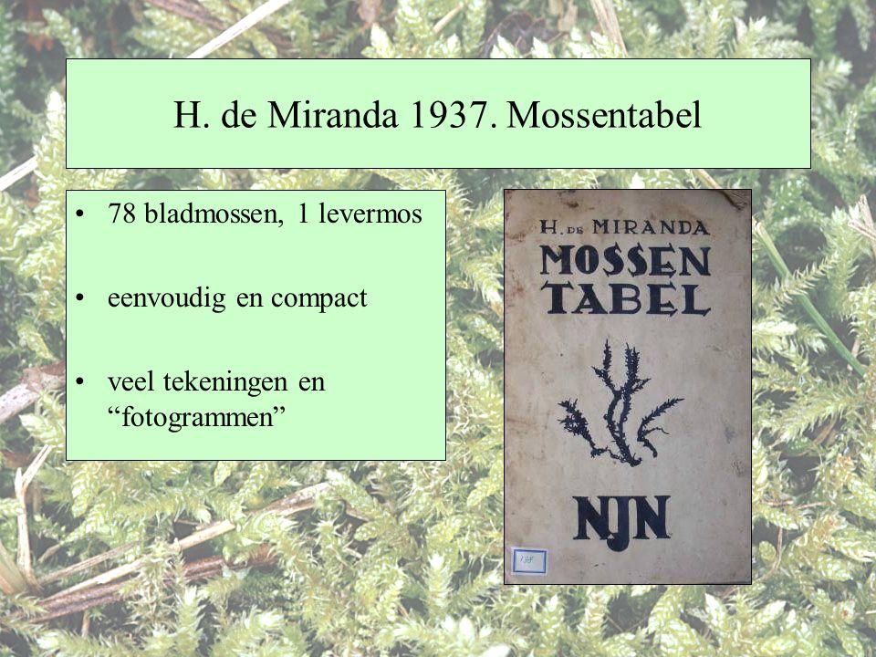 H. de Miranda 1937. Mossentabel