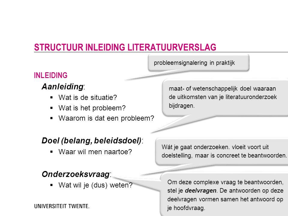 STRUCTUUR INLEIDING LITERATUURVERSLAG
