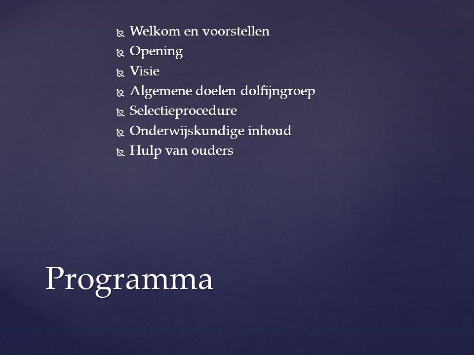 Programma Welkom en voorstellen Opening Visie