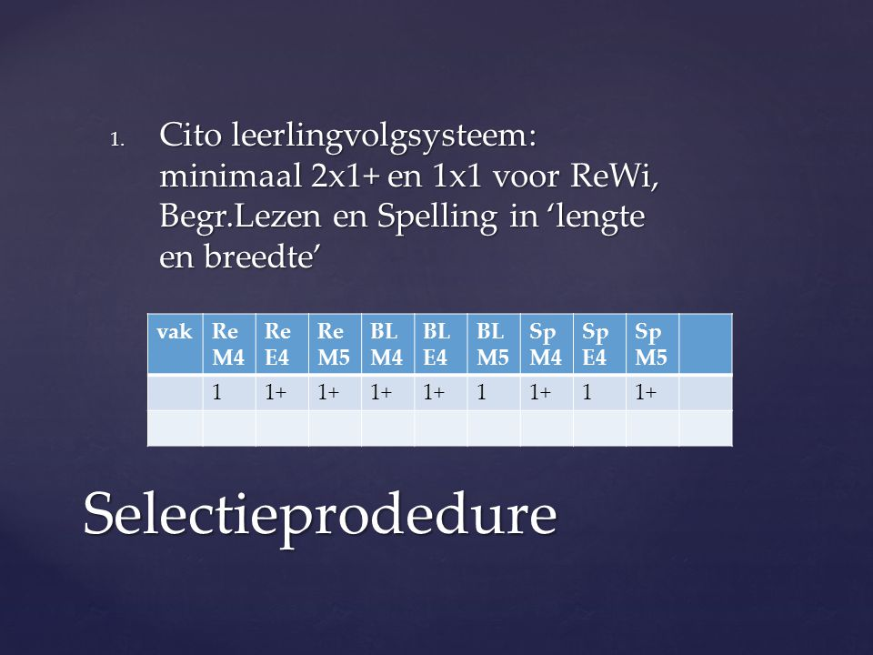 Cito leerlingvolgsysteem: minimaal 2x1+ en 1x1 voor ReWi, Begr