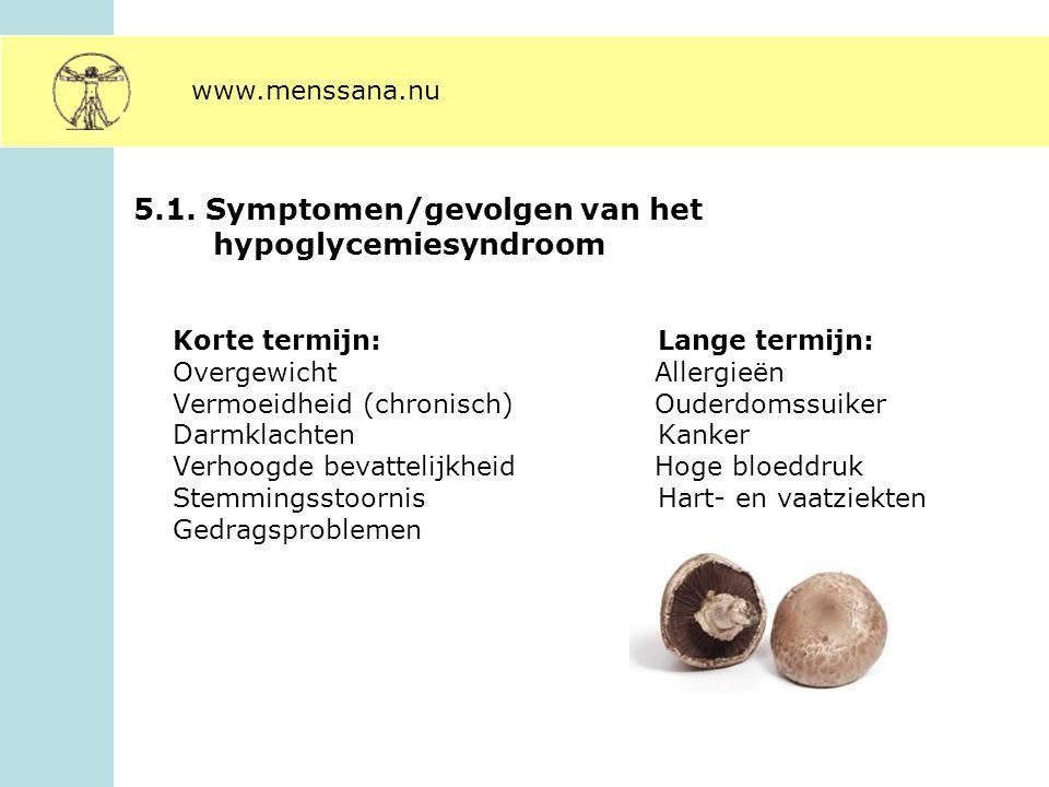 5.1. Symptomen/gevolgen van het hypoglycemiesyndroom