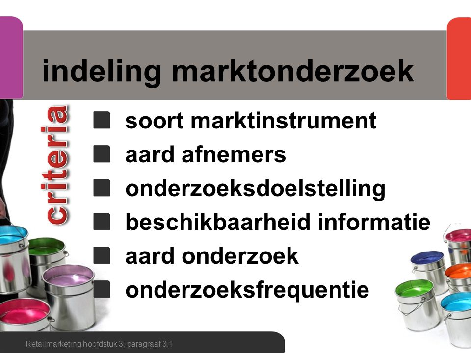 indeling marktonderzoek