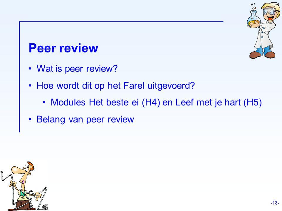 Peer review Wat is peer review Hoe wordt dit op het Farel uitgevoerd