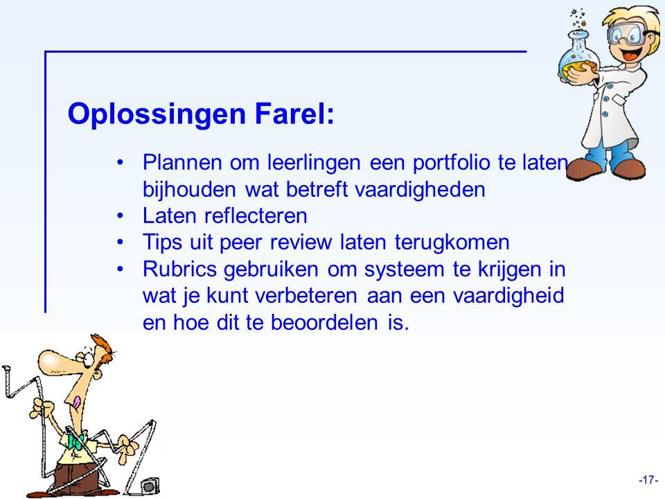 Oplossingen Farel: Plannen om leerlingen een portfolio te laten bijhouden wat betreft vaardigheden.