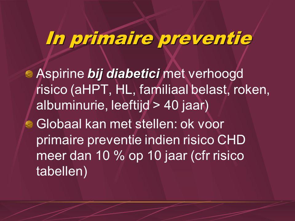 In primaire preventie Aspirine bij diabetici met verhoogd risico (aHPT, HL, familiaal belast, roken, albuminurie, leeftijd > 40 jaar)