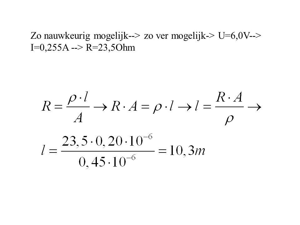 Zo nauwkeurig mogelijk--> zo ver mogelijk-> U=6,0V--> I=0,255A --> R=23,5Ohm