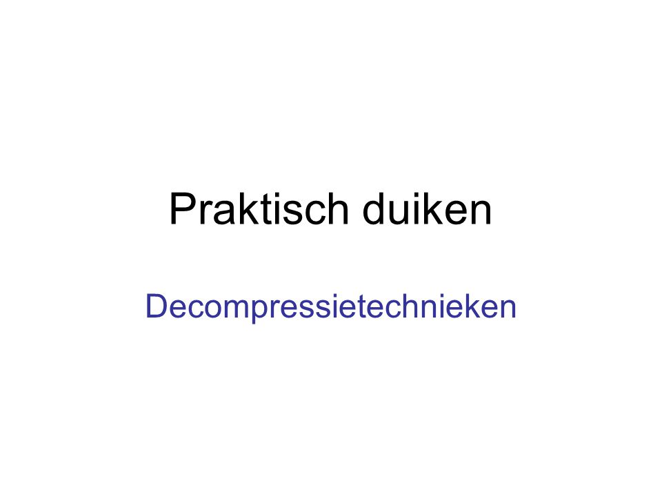Decompressietechnieken