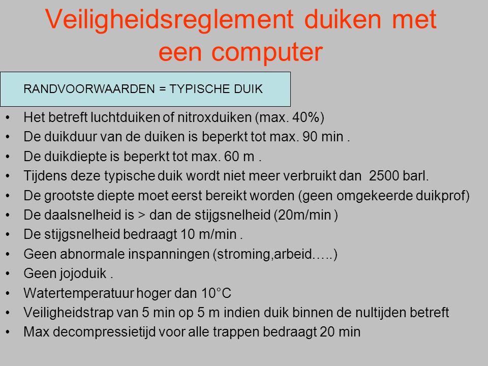 Veiligheidsreglement duiken met een computer
