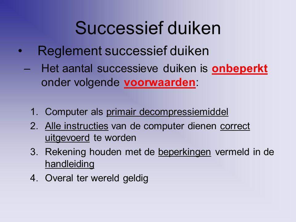 Successief duiken Reglement successief duiken