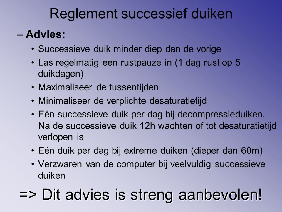 Reglement successief duiken