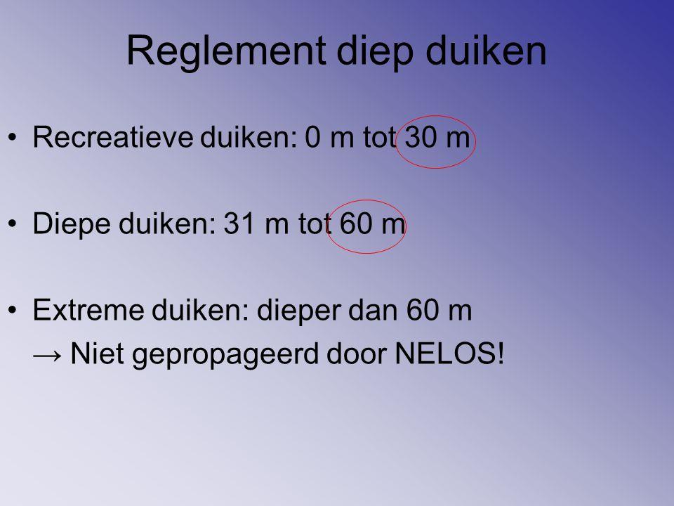 Reglement diep duiken Recreatieve duiken: 0 m tot 30 m