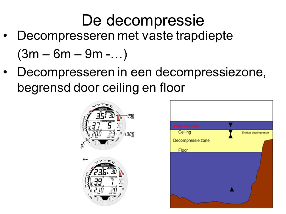 De decompressie Decompresseren met vaste trapdiepte (3m – 6m – 9m -…)
