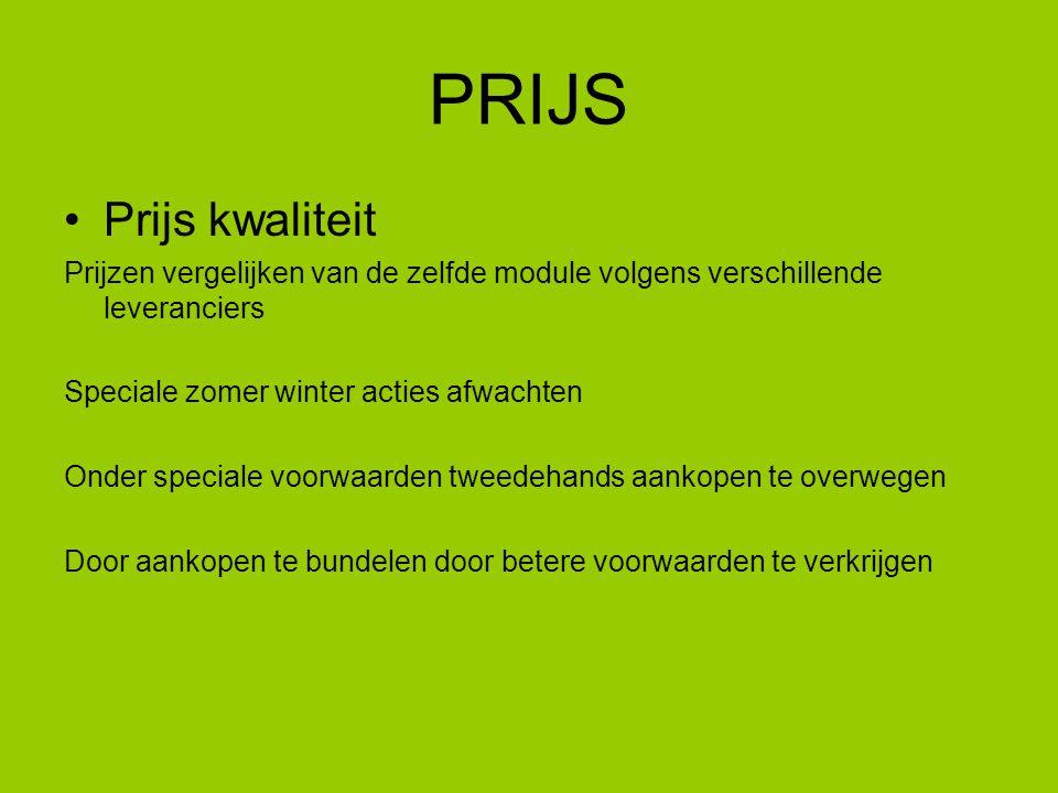 PRIJS Prijs kwaliteit. Prijzen vergelijken van de zelfde module volgens verschillende leveranciers.