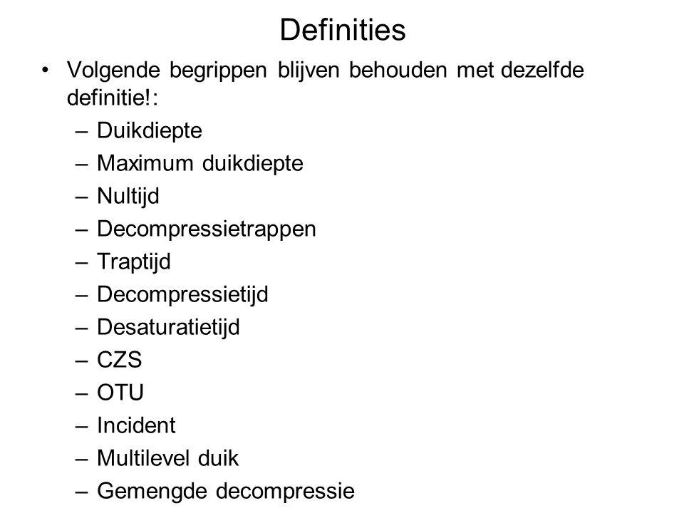 Definities Volgende begrippen blijven behouden met dezelfde definitie!: Duikdiepte. Maximum duikdiepte.