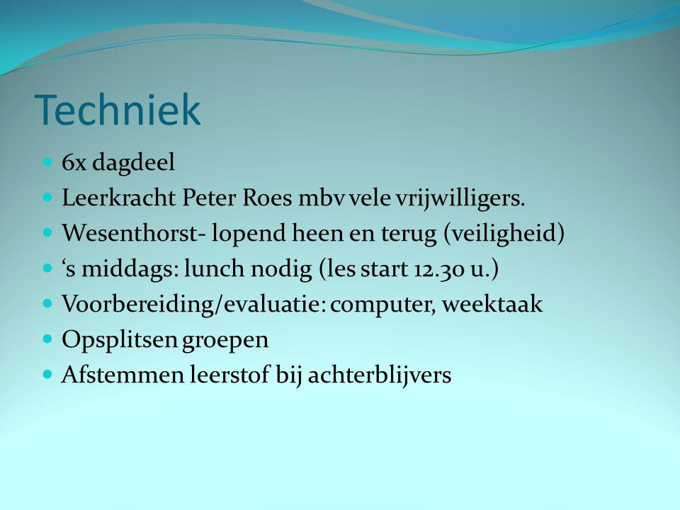 Techniek 6x dagdeel Leerkracht Peter Roes mbv vele vrijwilligers.