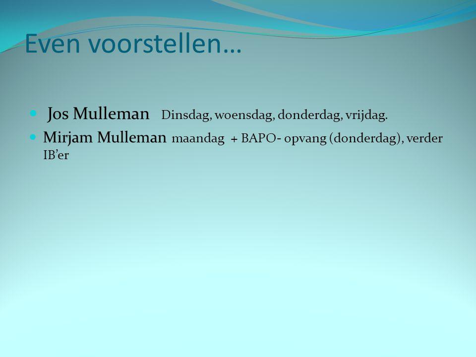 Even voorstellen… Jos Mulleman Dinsdag, woensdag, donderdag, vrijdag.