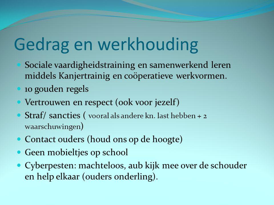 Gedrag en werkhouding Sociale vaardigheidstraining en samenwerkend leren middels Kanjertrainig en coöperatieve werkvormen.