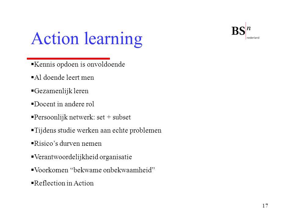 Action learning Kennis opdoen is onvoldoende Al doende leert men