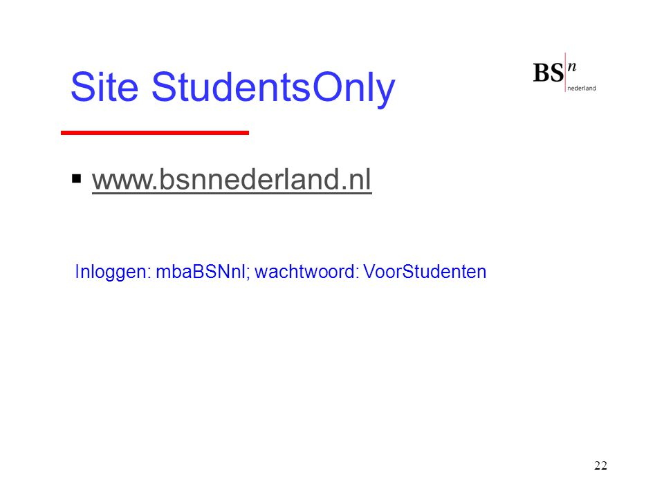 Site StudentsOnly www.bsnnederland.nl
